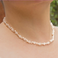 SALE! Gemstone & crystal necklace, Swarovski® & Snow Jade bridal jewellery, Prom