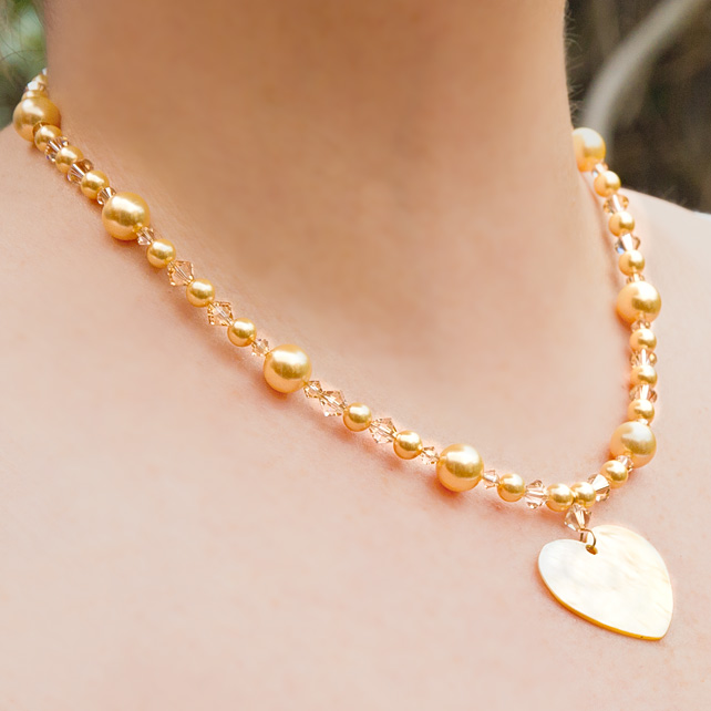 SALE! Gold pearl & crystal bridal necklace, Swarovski® wedding jewellery, Prom