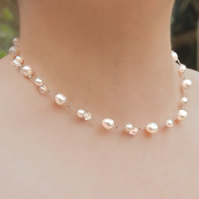 SALE! Pearl & Crystal wedding necklace, Swarovski® bridal illusion necklace
