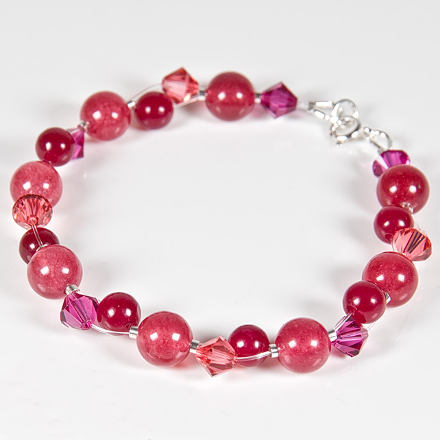NEW! Pink-Red Bracelet, Gemstone & Swarovski® Sterling Silver jewellery