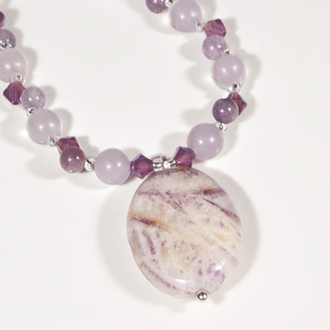 Purple-Pink necklace, Gemstone & Swarovski® silver jewellery