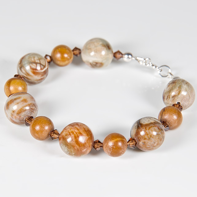 Golden brown bracelet, Gemstone & Swarovski® jewellery