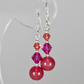 NEW! Pink-Red Earrings, Gemstone & Swarovski® Crystal Sterling Silver jewellery