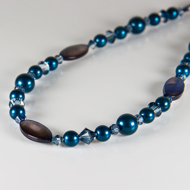 Blue necklace, Mother of Pearl & Swarovski® silver  jewellery, Pearls