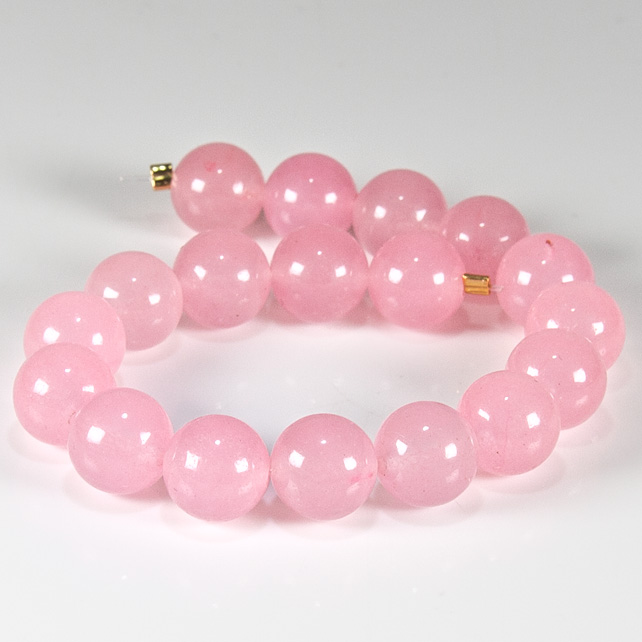 x18 Pink Jade, 8mm gemstone rounds, string of beads, jewellery supplies
