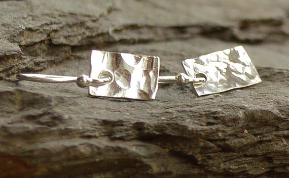 Hammered Sterling Silver Square Earings