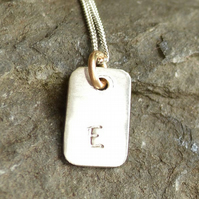 "Personalised Silver Pendant With Gold Jump Ring On 18"" Silver Chain"