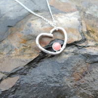 "Handmade Rhodochrosite Sterling Silver Heart Pendant on an18"" Silver Chain"