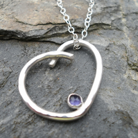 Handmade Sterling Silver Pendant With Iolite Gem