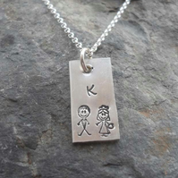 "Personalised Silver Pendant on 18"" Silver Chain, Bridesmaid Gift"