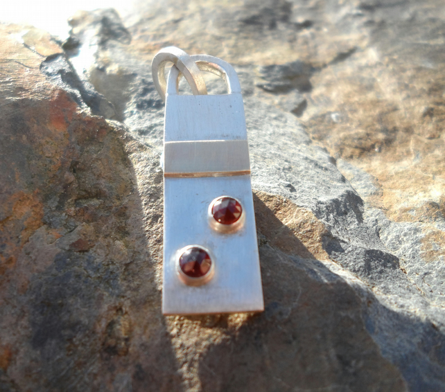 Handmade Garnet Silver and Gold Pendant