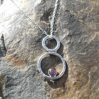 "Hanmade Silver with Amathyst Pendant on 20"" Silver Chain"