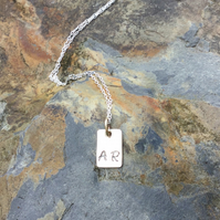 "Sterling Silver Initial Pendant With 9kt  Gold Ring on 18"" Silver Chain"