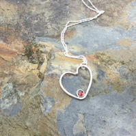 Sterling Silver Faceted Top Garnet Heart Pendant