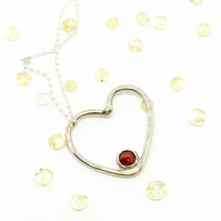 Handmade Heart Garnet Necklace
