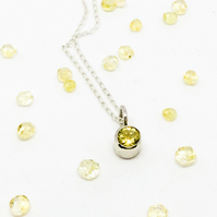 Faceted Citrine Gemstone Sterling Silver Handmade Pendant