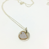 Handmade Sterling Silver And Copper Heart Pendant
