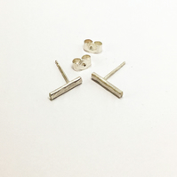 Handmade Recycled  Sterling Silver Bar Earrings