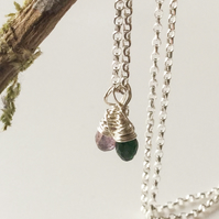 Tourmaline Sterling Silver Wire Wrapped Pendants