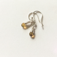 Golden Tourmaline Wire Wrapped Sterling Silver Earrings