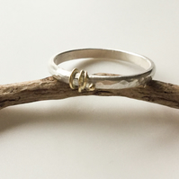 Handmade Silver Wedding Ring With Gold Decoration