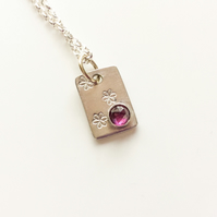 Rhodolite Garnet Silver and Gold Necklace