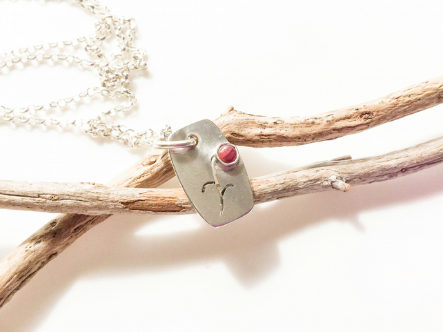 Ruby Sterling Silver Flower Necklace
