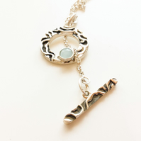 Sterling Silver Pendant With Larimar Gem Necklace