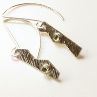 Peridot Gemstone Silver Earrings