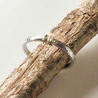Sterling Silver and 9ct Gold Hammered Skinny Ring