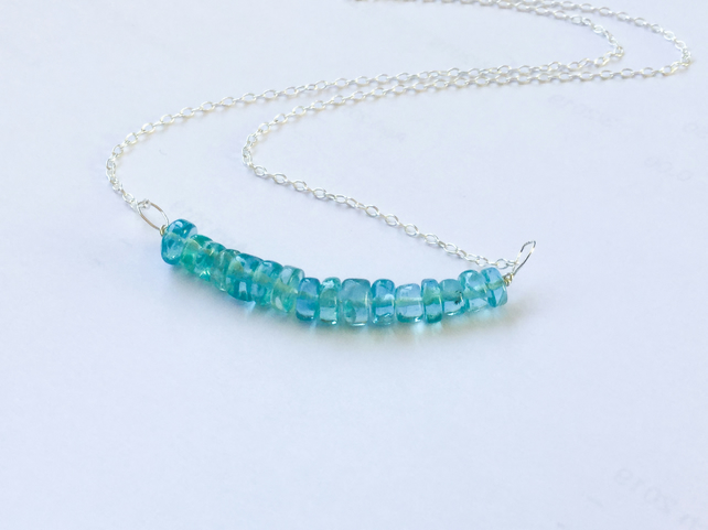 Apatite Bar Silver Necklace