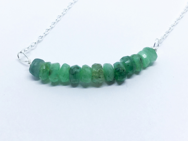 Emerald Bar Sterling Silver Necklace
