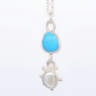 Handmade Turquoise and Pearl Sterling Silver Pendant