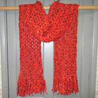 Lovely long and cozy crochet red scarf, 51% wool, 49% acrylic.  Handmade