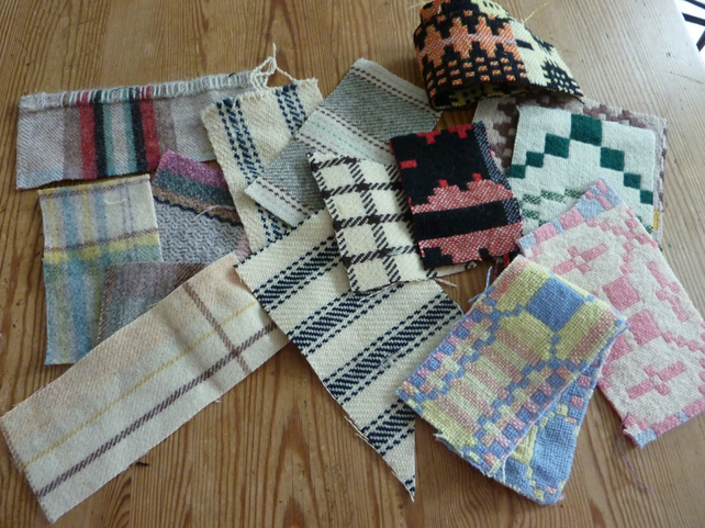 antique and vintage Welsh blanket pieces
