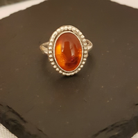 Sterling Silver Amber gemstone ring