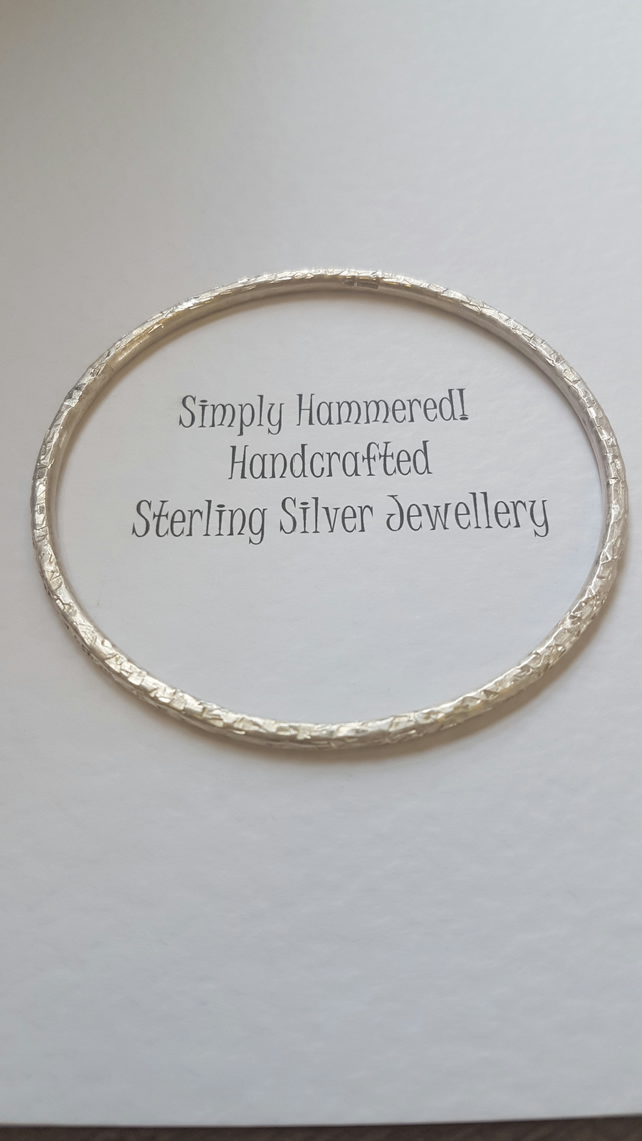 Sterling Silver Hammered Bangle