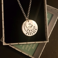 Sterling Silver Personalised Disc Necklace