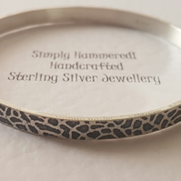 Oxidized Textured Silver Bangle