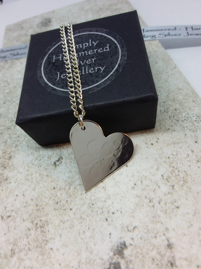 Flower Textured Heart Necklace