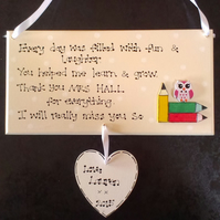 Personalised End of Term School Thankyou Teacher Childminder Leaving Gift Plaque