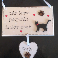 Personalised Cat Pawprints in Heart Pet Memorial Gift Plaque Upto 3 names inc