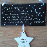 Personalised Best Dad in Galaxy Star Wars Daddy Grandad Fathers Day Gift Plaque