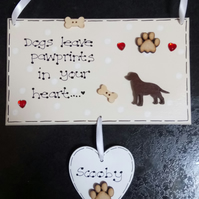 Personalised Dog Pawprints in Heart Pet Memorial Gift Plaque Upto 3 names inc