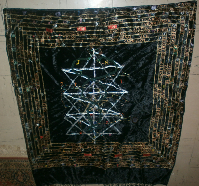 Hermetic Quaballah Tree of Life Jewelled Embroidery on Black Velvet Signed