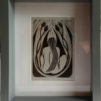 Nude in the Flowers lino print, framed