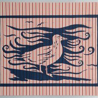 Stripy Sea Gull lino print