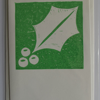 Holly card, green