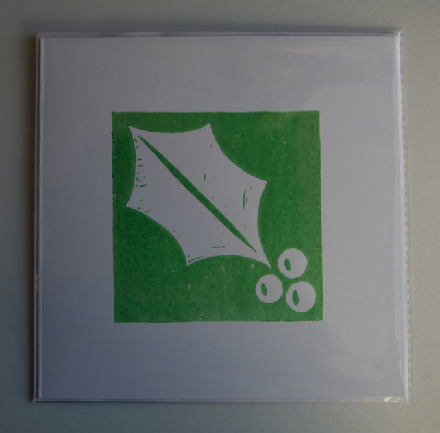 Square Holly Card, green