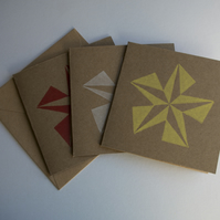 Geometic Star Cards, pack of 5 (3 colours)
